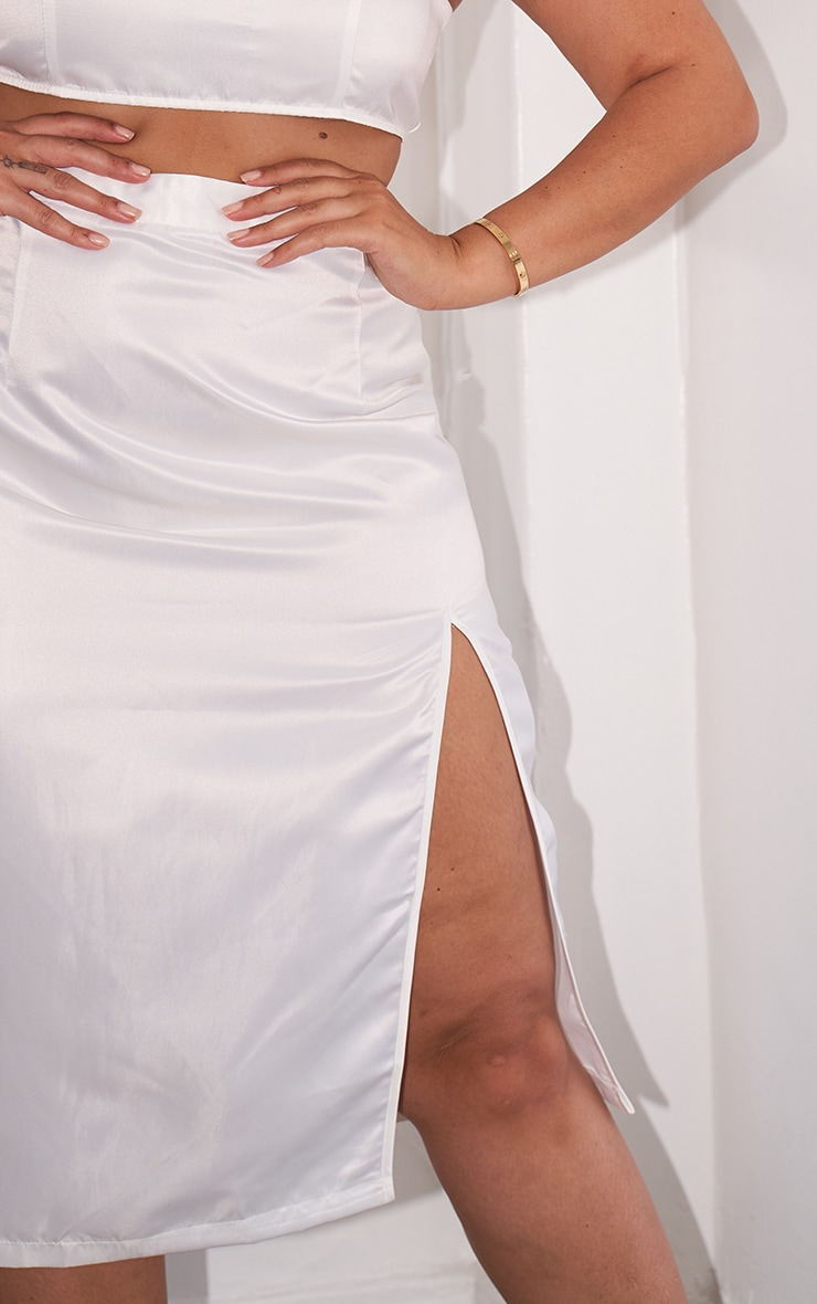 Plus White Satin Split Detailed Midi Skirt 3