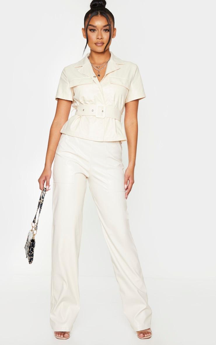 Chemise manches courtes en similicuir crème à ceinture 3