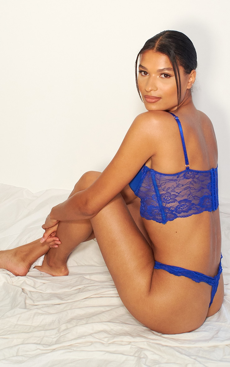 Cobalt Lace Underwired Bralet And Thong Lingerie Set 2