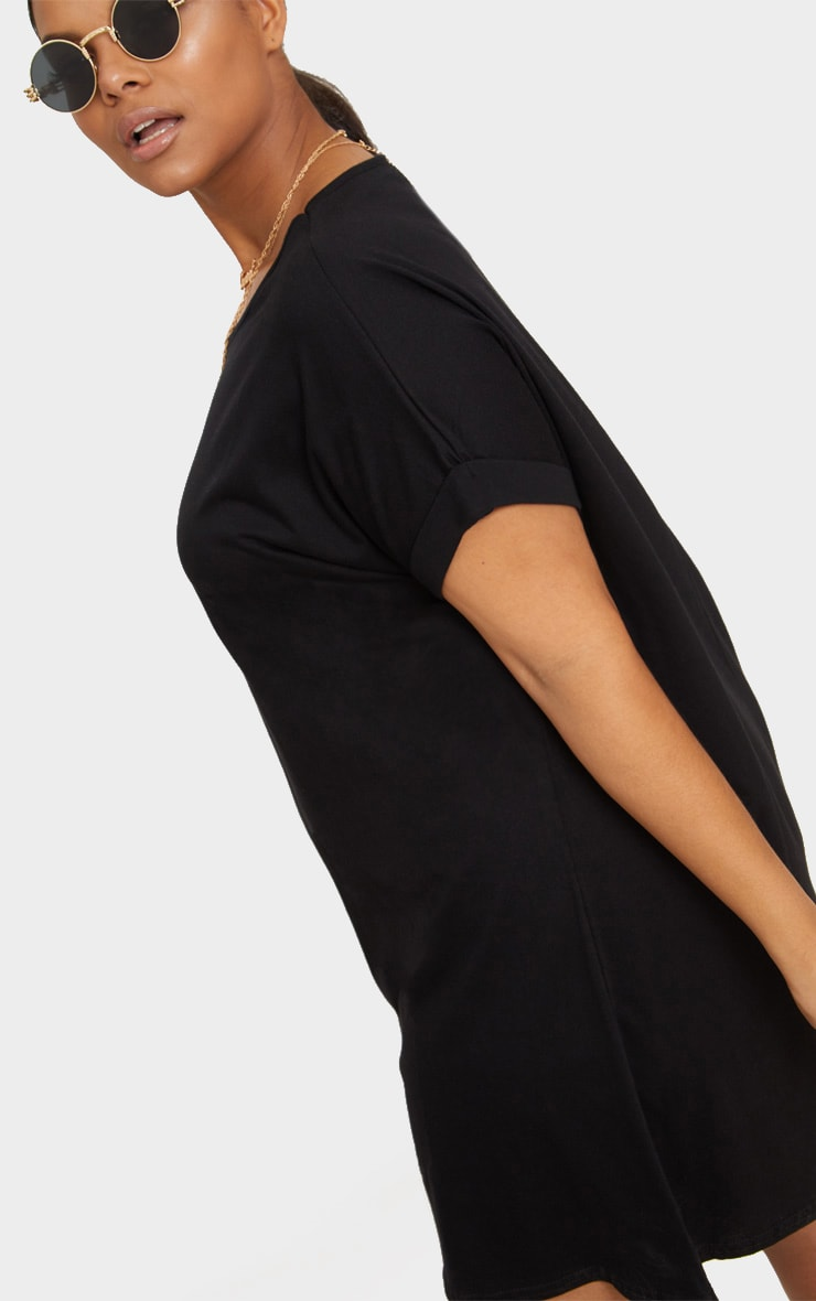 Plus Black Oversized Roll Sleeve T-Shirt Dress 5