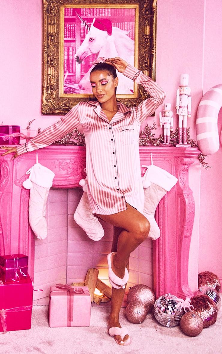 Pink Satin Striped Night Shirt