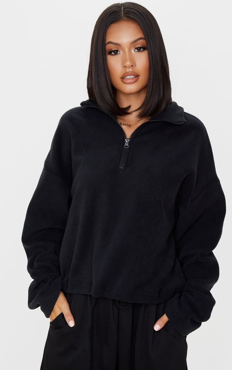 Black Zip Front Crop Fleece Sweater 1