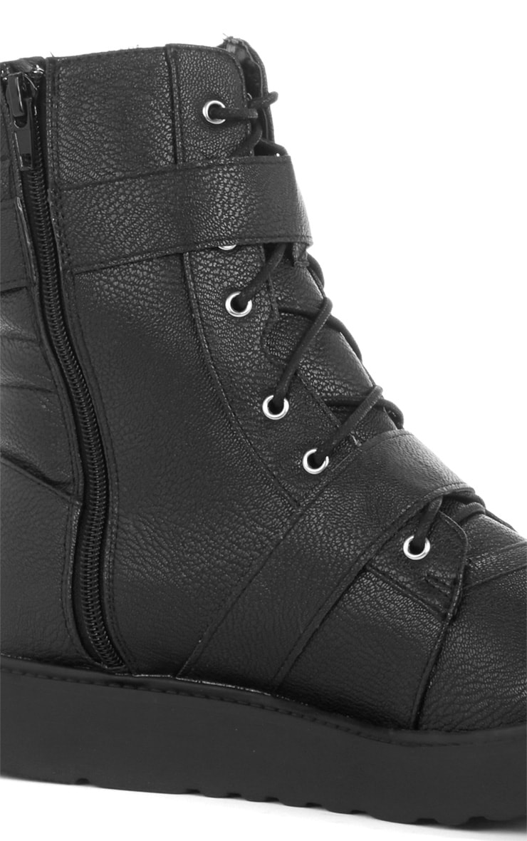 Aby Black Double Buckle Biker Boot  2