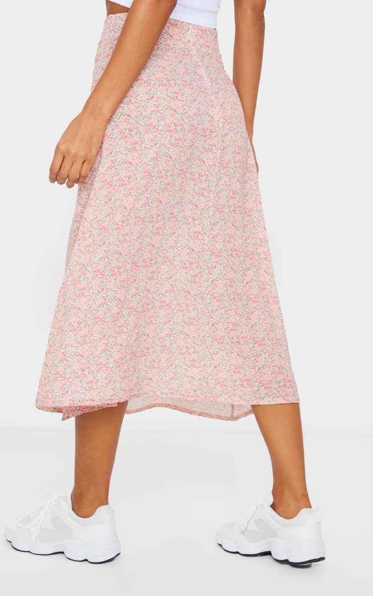 Pink Ditsy Floral Print Floaty Midi Skirt 3