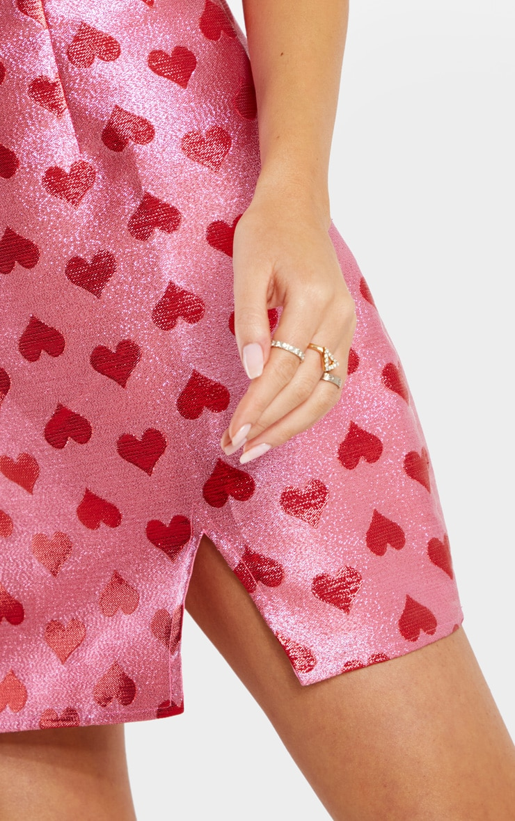 Pink Metallic Love Heart Bodycon Dress 5