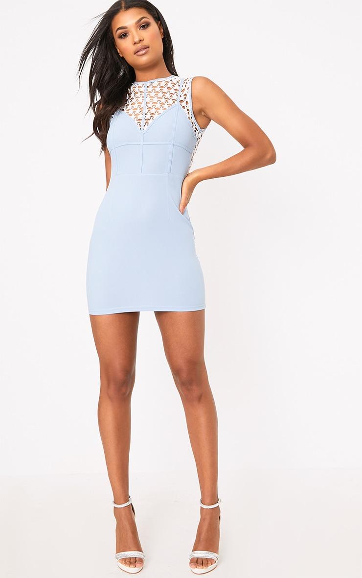 Layalia Blue Star Lace Contrast Bodycon Dress  4