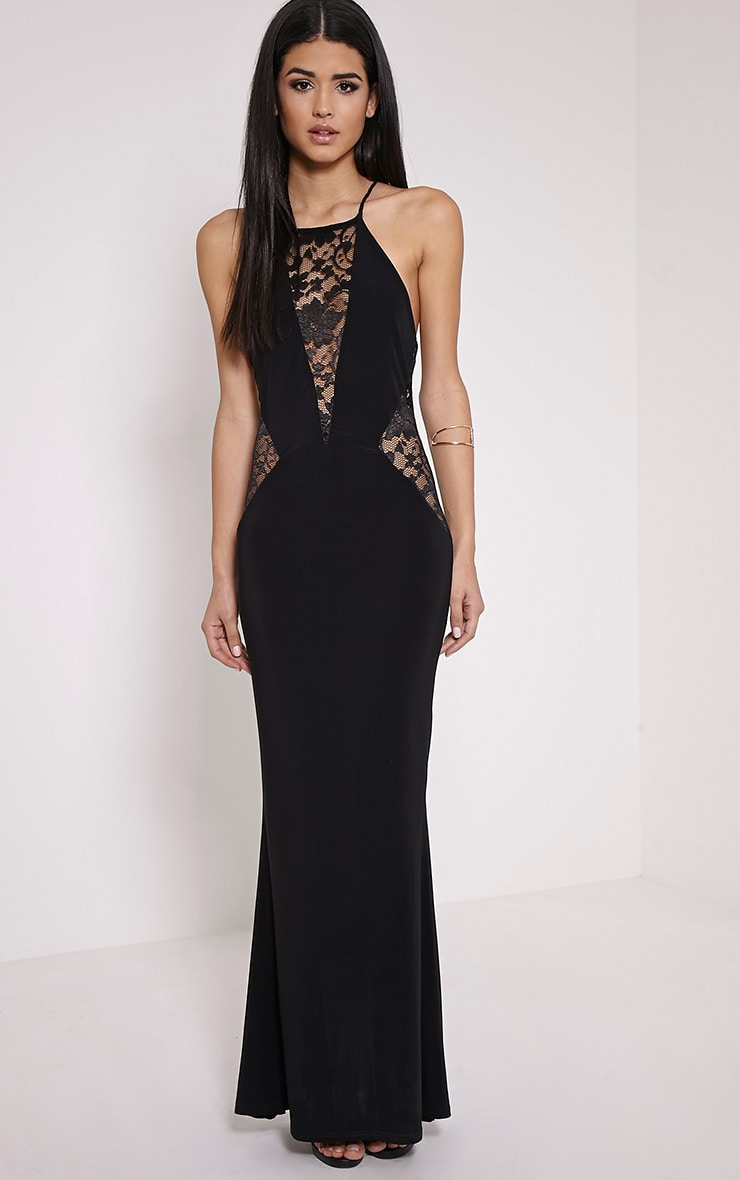 Lina Black Lace Insert Maxi Dress 1