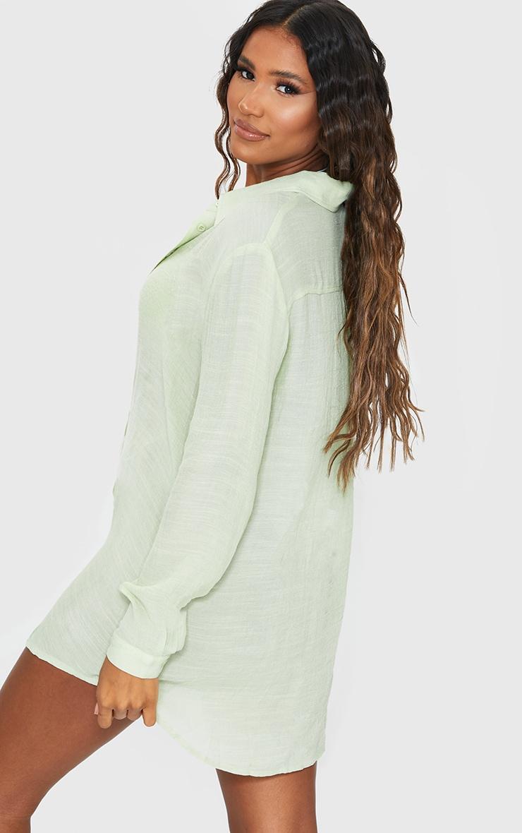 Sage Green Linen Look Oversized Beach Shirt 2