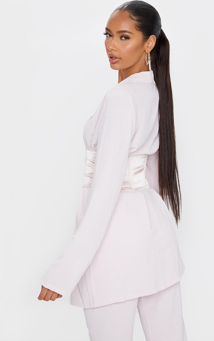 Light Pink Woven Lightweight Oversized Satin Tie Belt Blazer 2