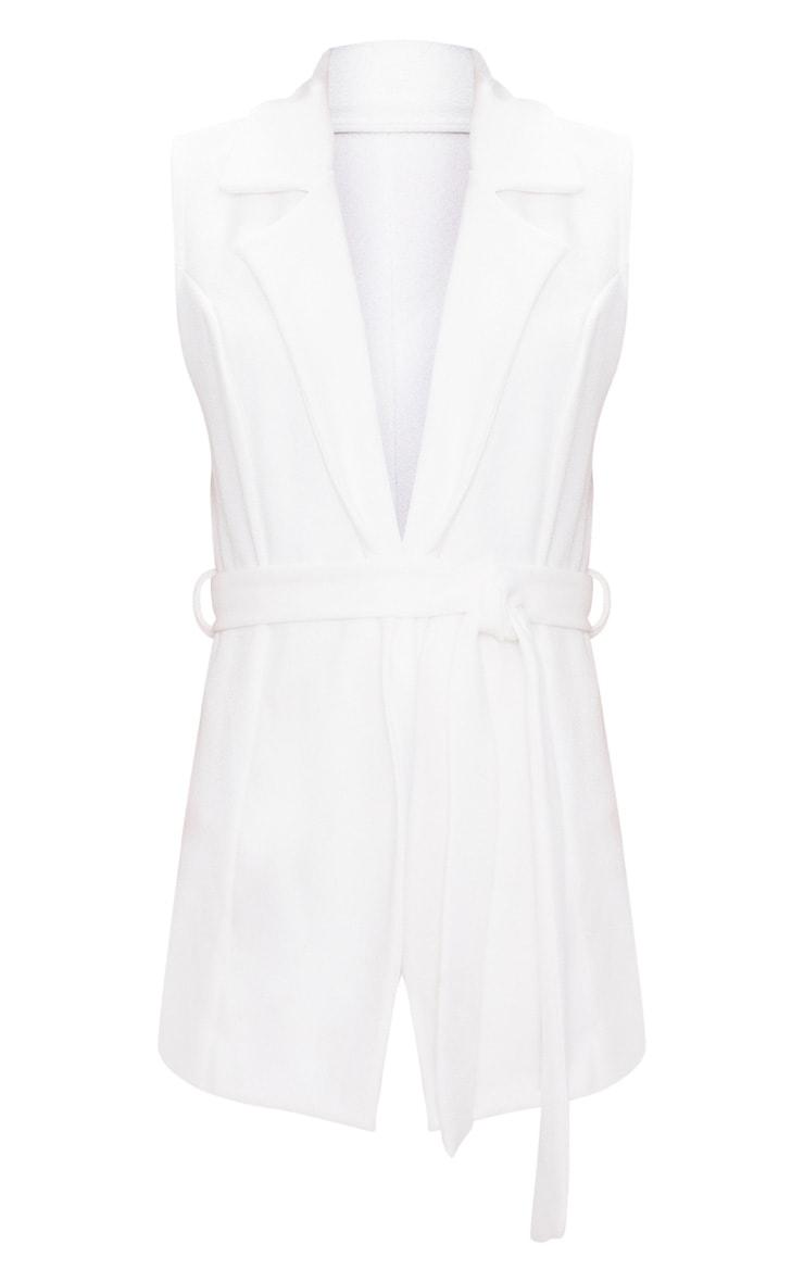 White Sleeveless Belted Blazer 3