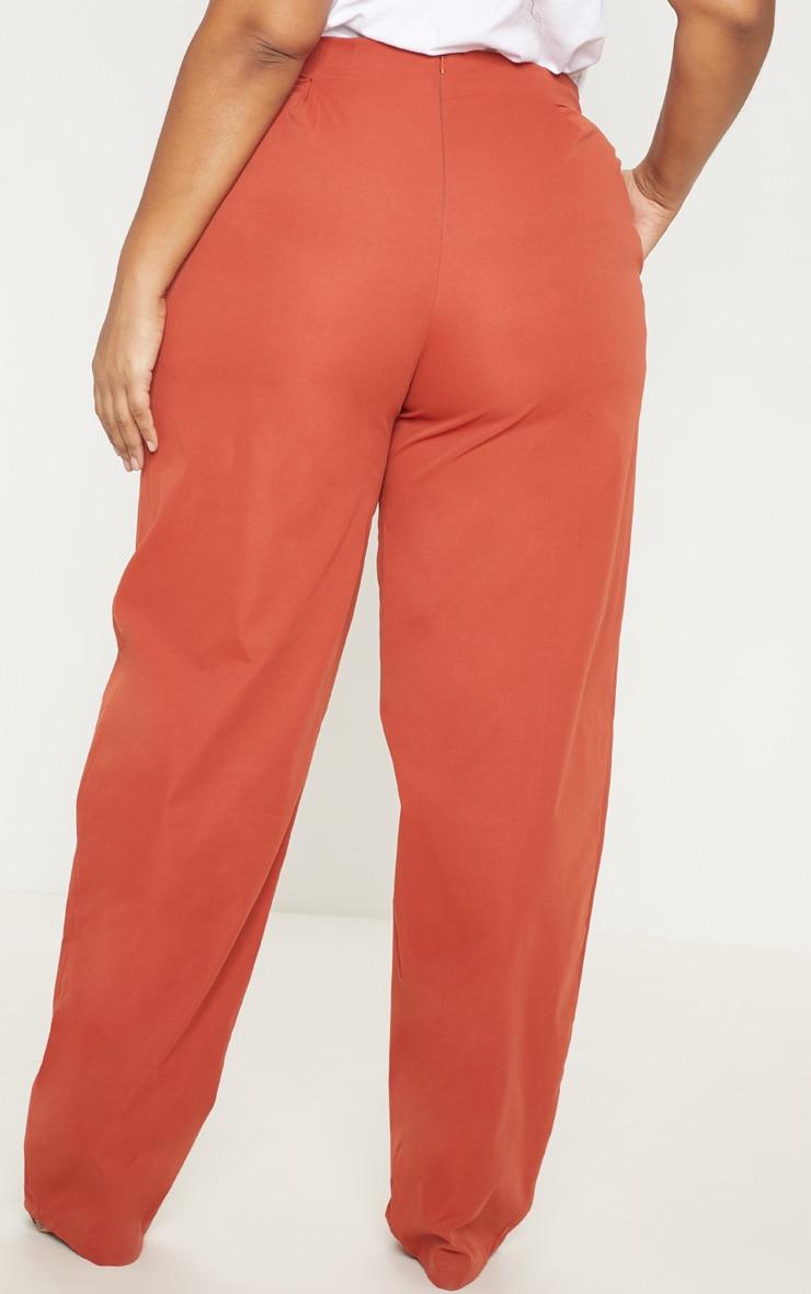 PLT Plus - Pantalon ample rouille à détail boutons et pli 4