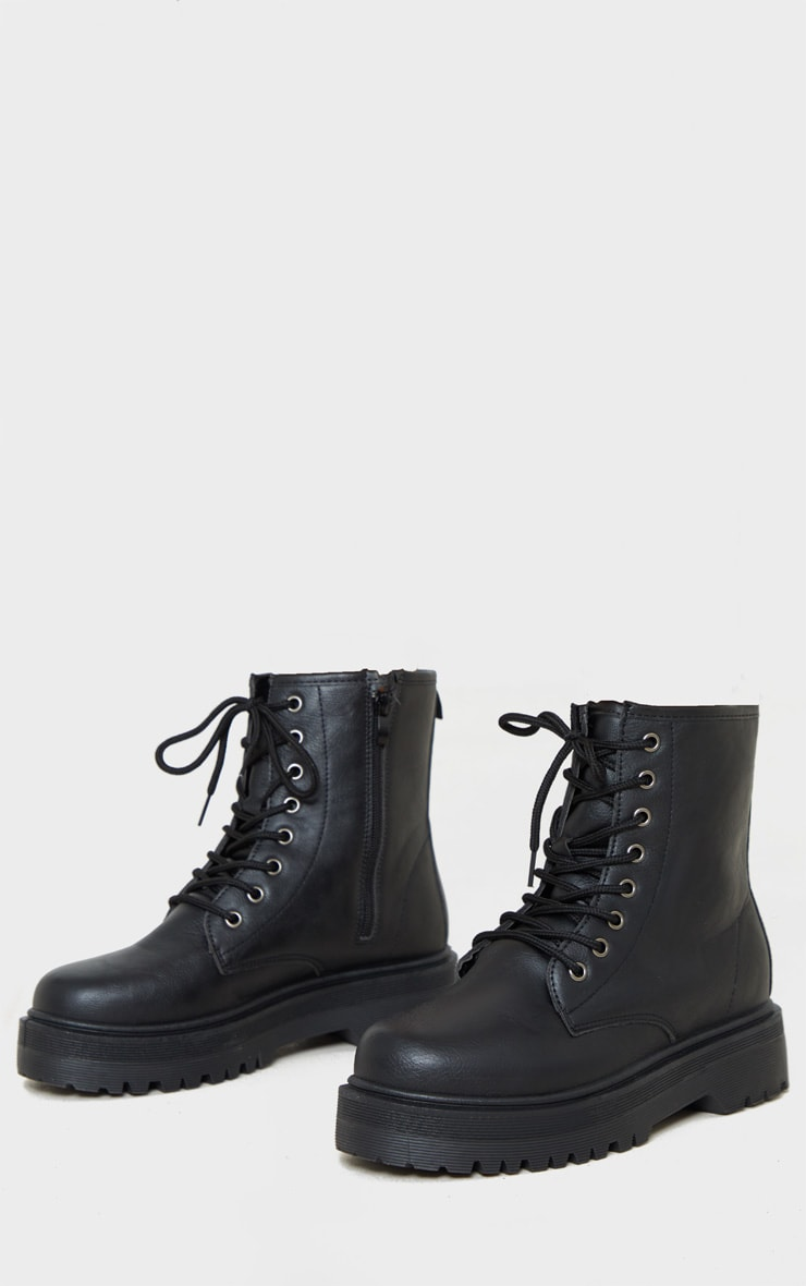 Black Lace Up Chunky Ankle Boot 3
