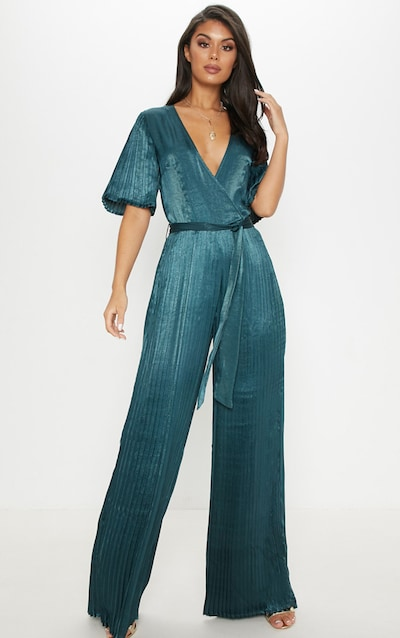 a3eed019550d Emerald Green Satin Pleated Wide Leg Jumpsuit