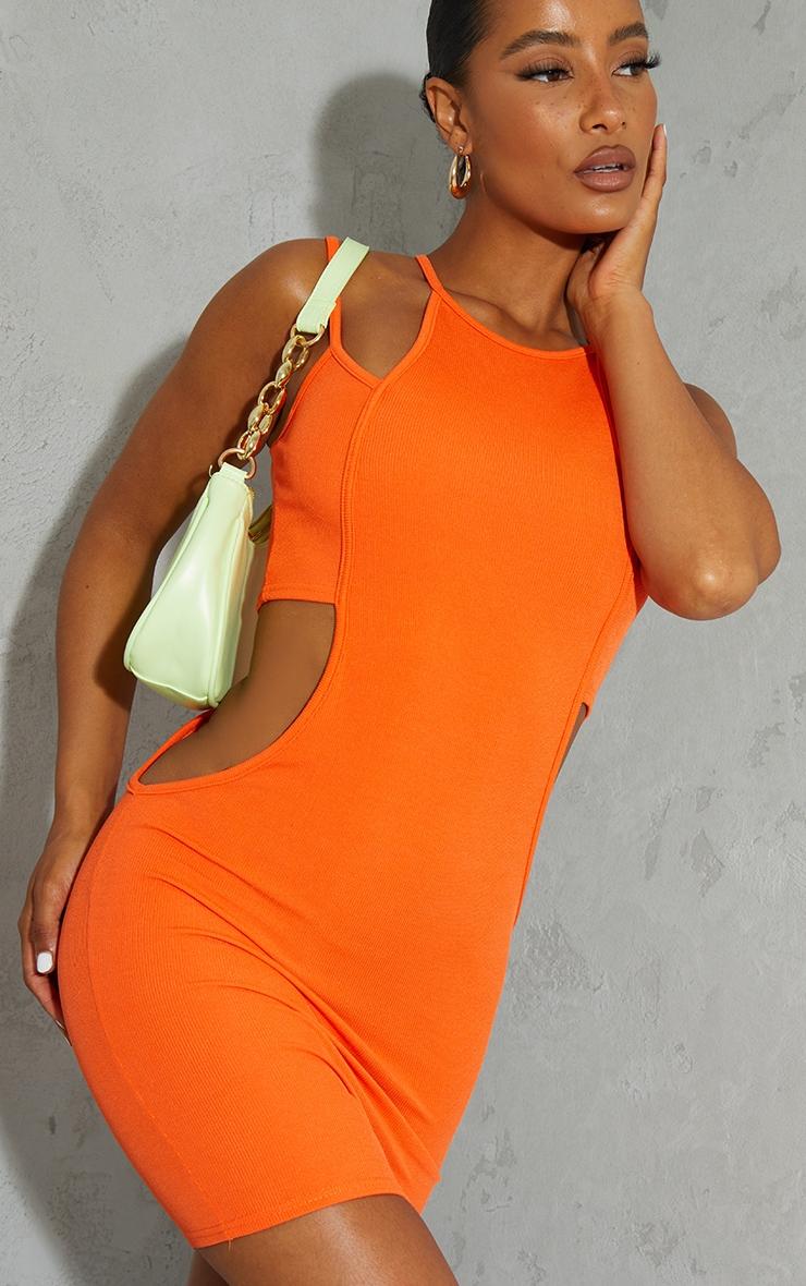 Orange Ribbed Multi Strap Cut Out Bodycon Dress 4