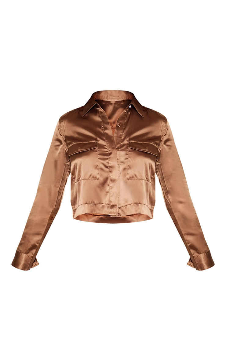 Tall Chocolate Brown Pocket Detail Crop Shirt 3