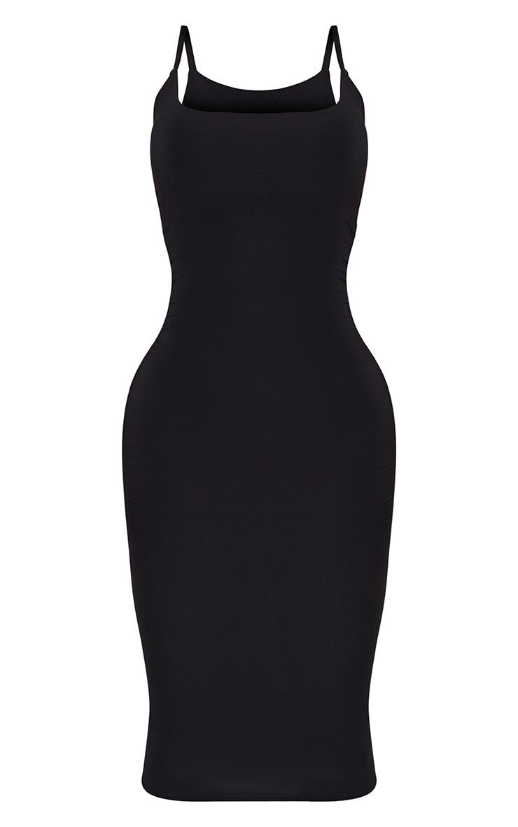 Shape Black Slinky Strappy Scoop Neck Midi Dress 3