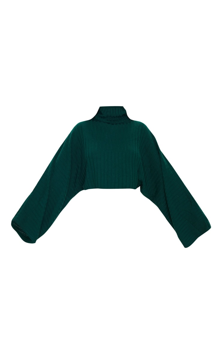 Green Ribbed Knit High Neck Sweater  3