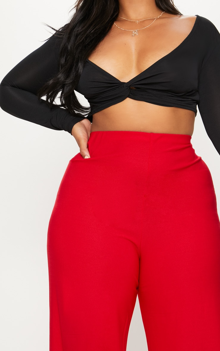 Plus Red High Waisted Wide Leg Trousers 5
