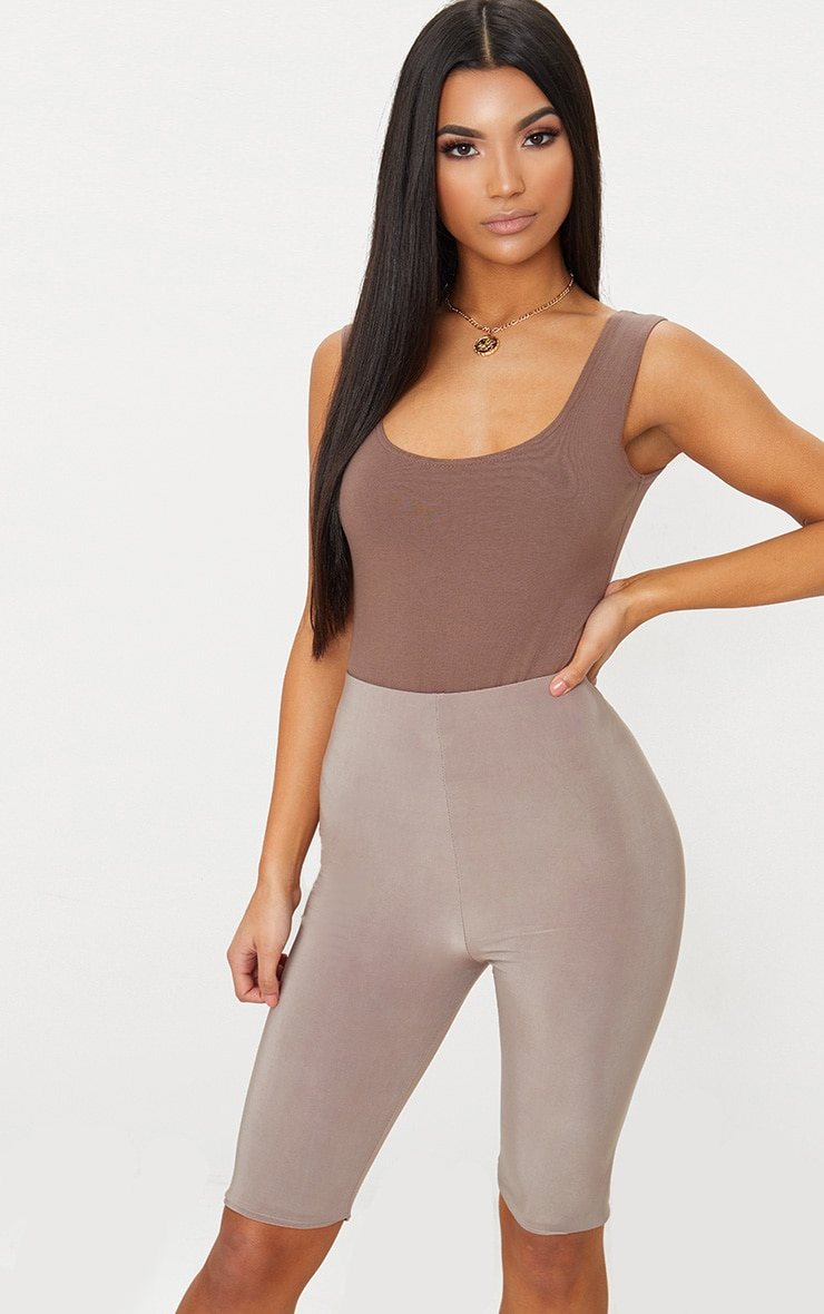 Taupe Slinky Longline Cycle Short  1