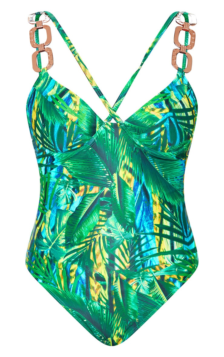 Plus Green Tropical Gold Trim Underwired Swimsuit 5