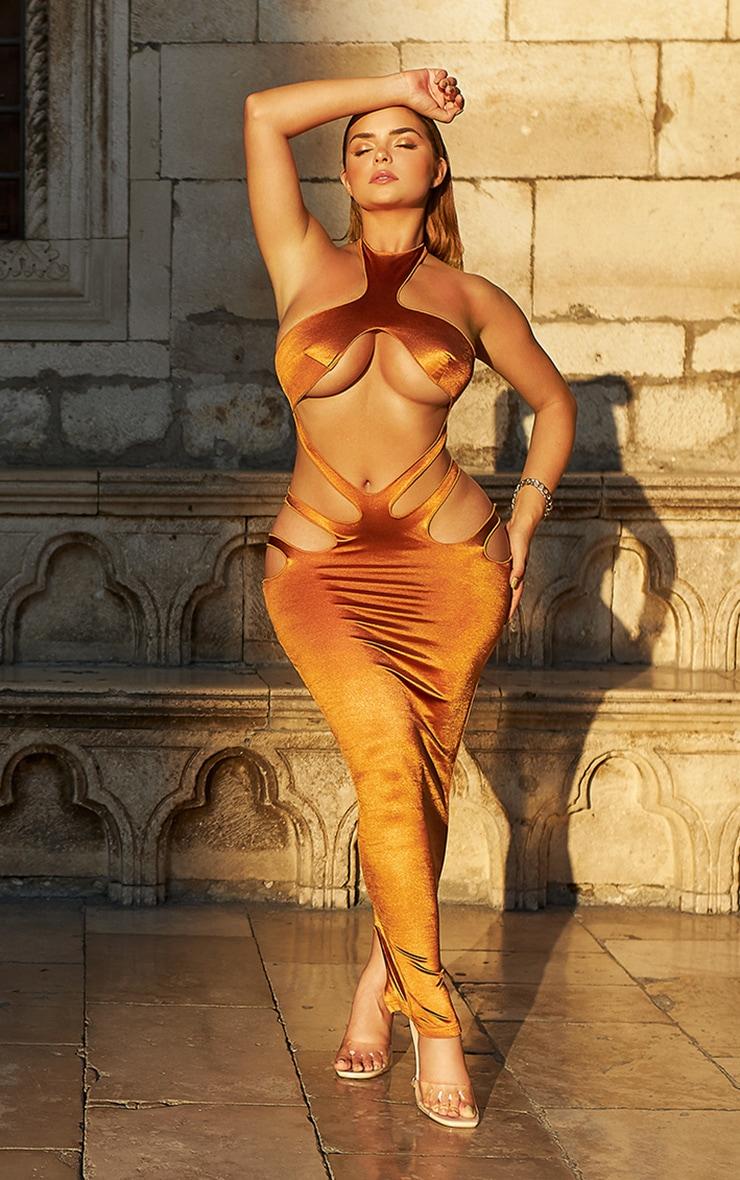 Shape Bronze Disco High Neck Cut Out Detail Midaxi Dress
