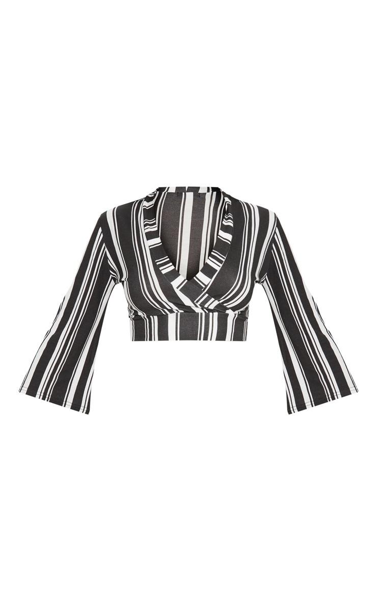 Black Stripe Jersey Plunge Detail Crop Top 3