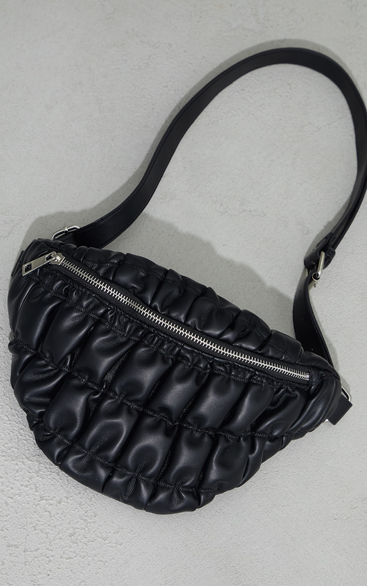 Black Ruched Quilted Cross Body Bag 2