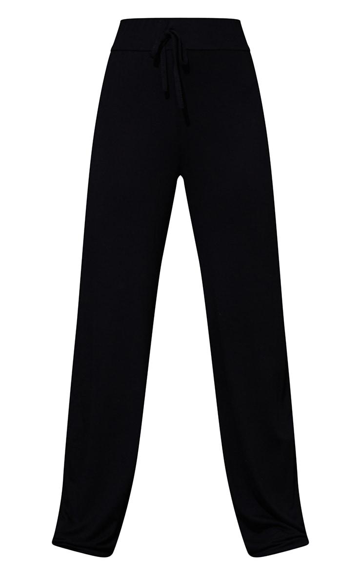 Petite Black Drawstring Jersey Wide Leg Track Pants 5
