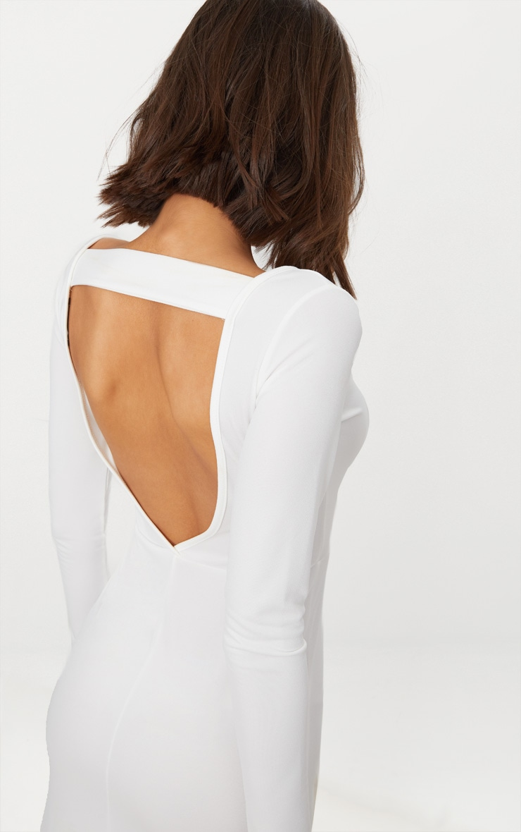 White Backless Strap Detail Long Sleeve Maxi Dress 4