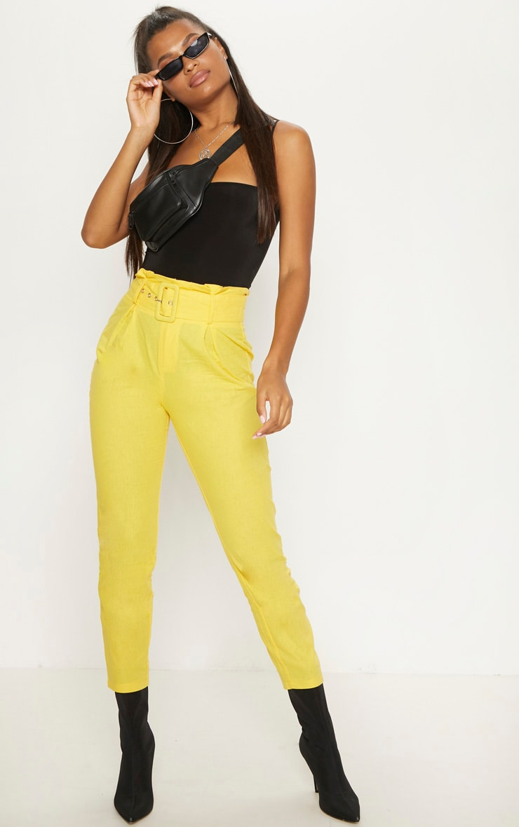 Mustard Belted Paperbag Tapered Trouser