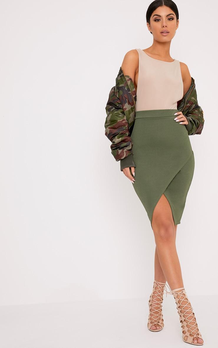 Aislynn Khaki Wrap Midi Skirt 1