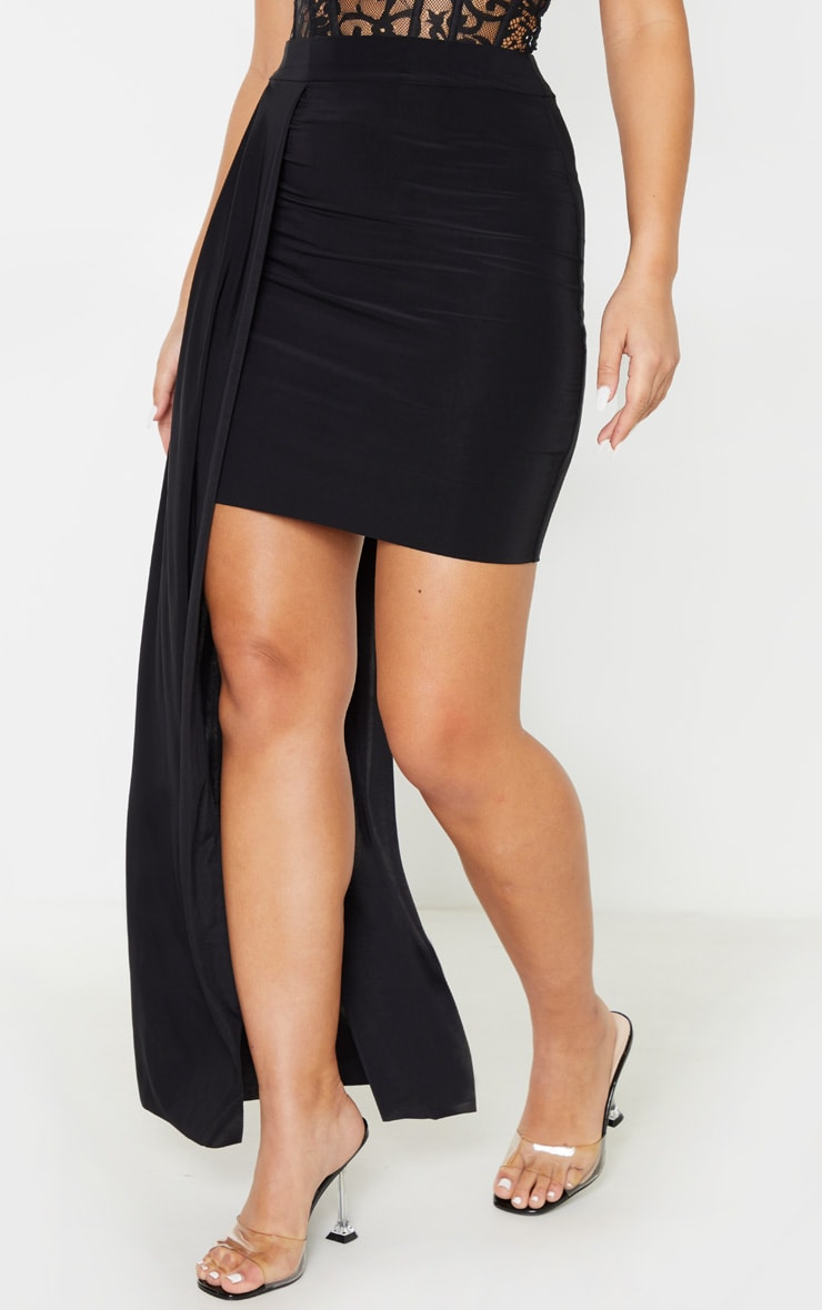 Black Slinky Drape Detail Mini Skirt  2