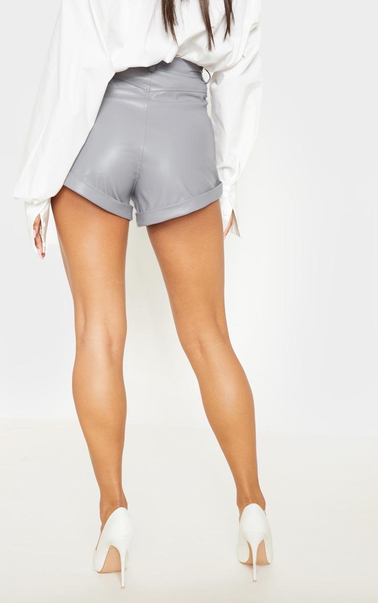 Lead Grey Faux Leather Turn Up Hem Shorts 4