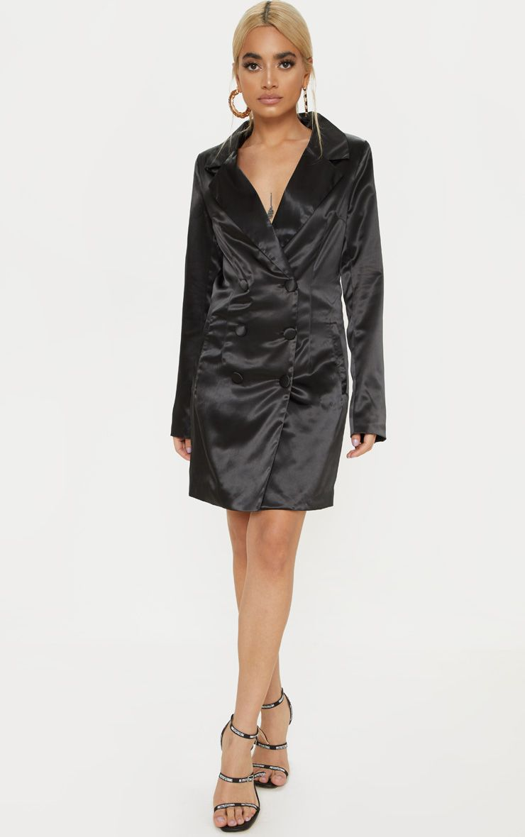 Petite Black Satin Button Detail Blazer Dress 1
