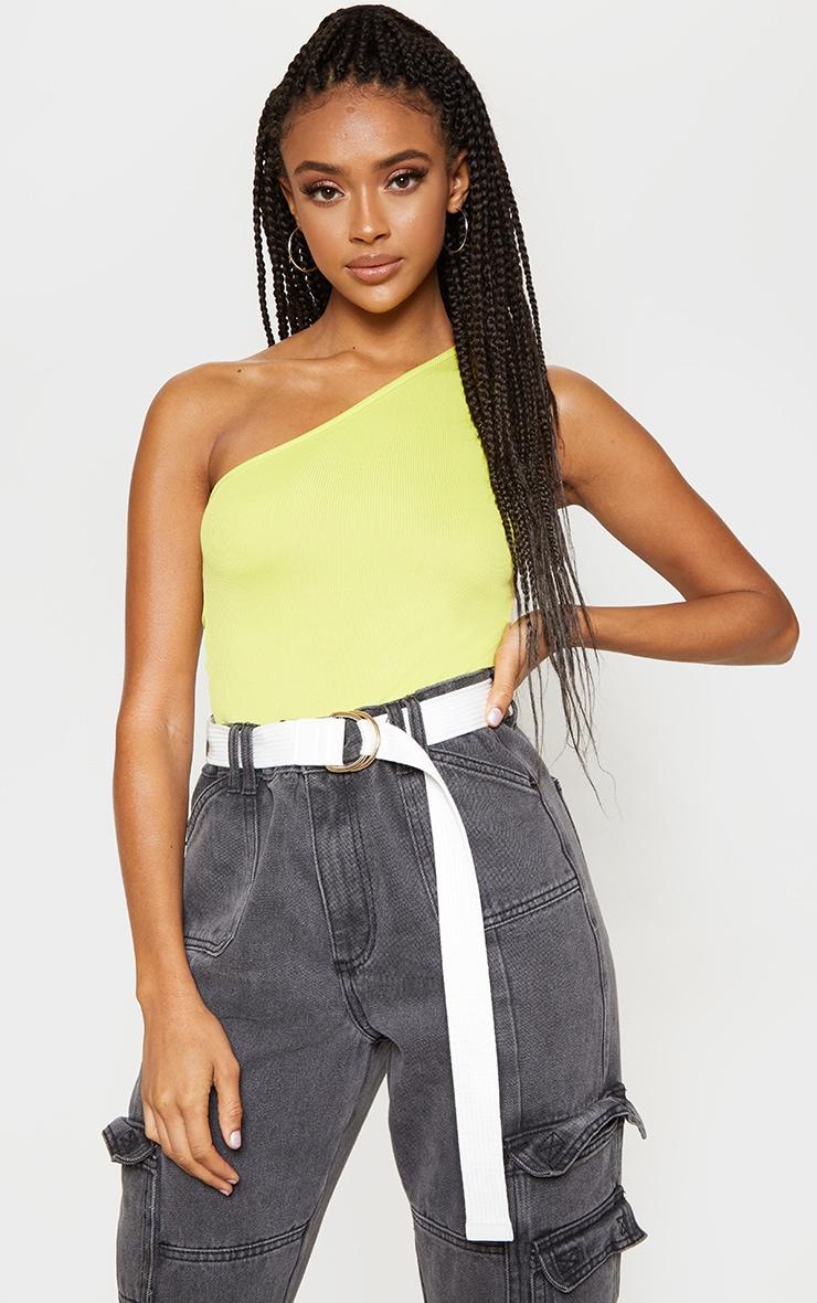 Light Lime Rib One Shoulder Sleeveless Bodysuit 1