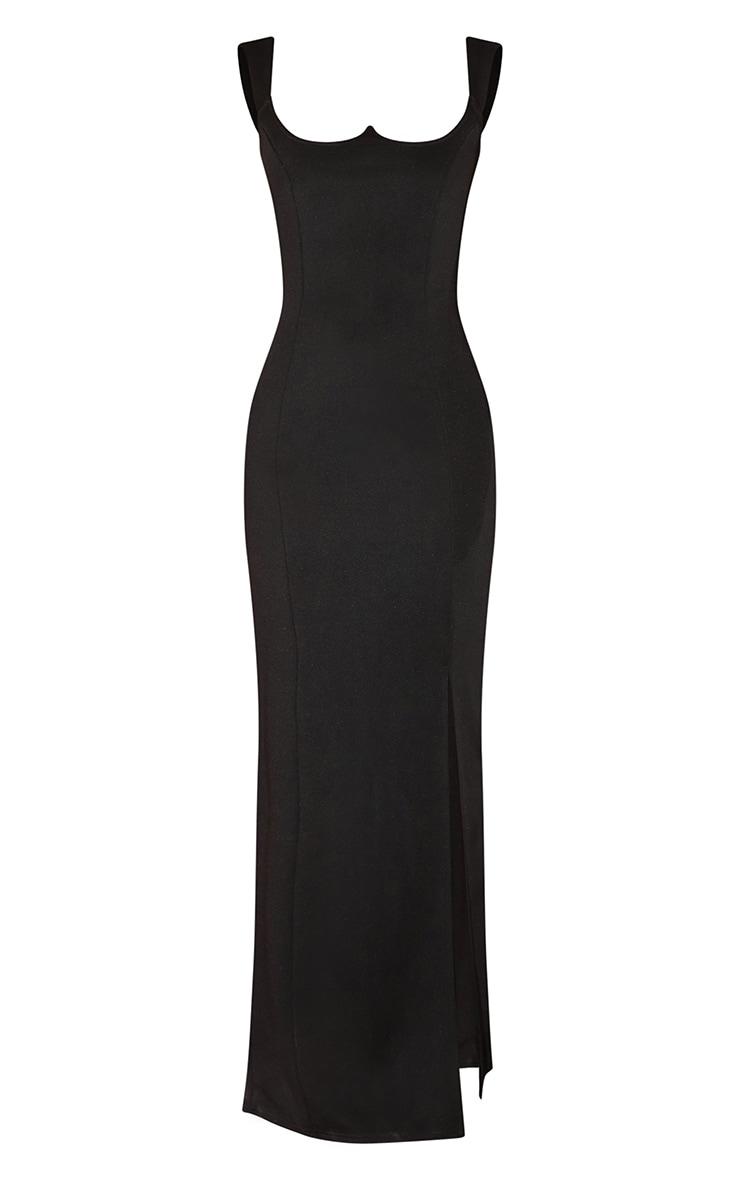 Black Structured Bodice Maxi Dress 3