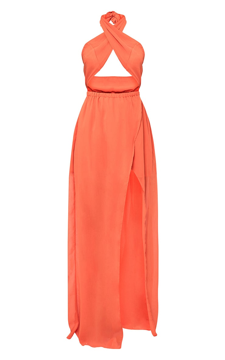 Orange Halterneck Maxi Dress 3