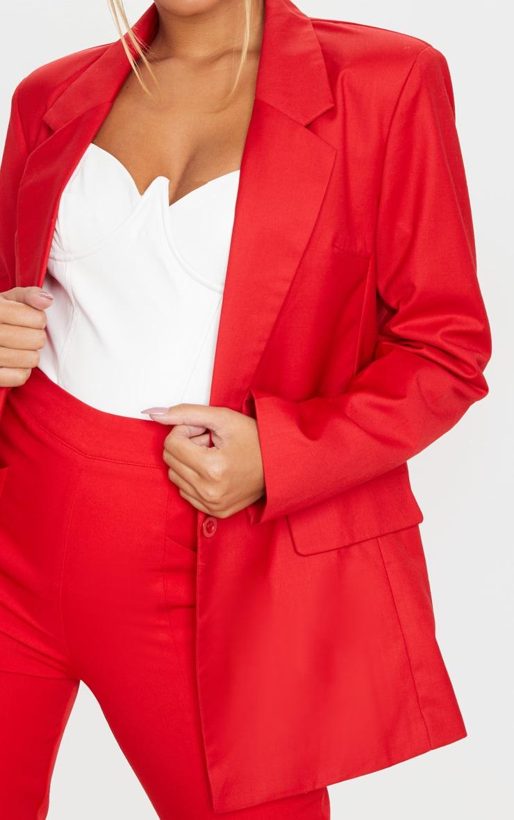 Red Longline Oversized Woven Blazer 4