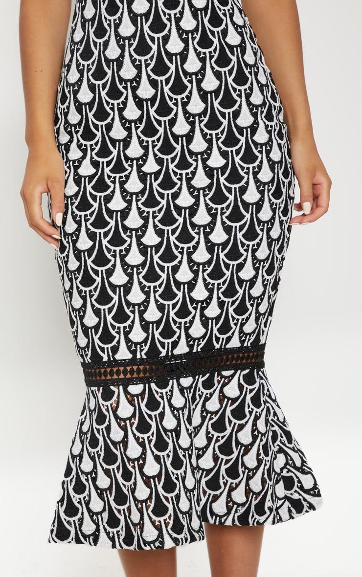 Monochrome Crochet High Neck Midi Dress 5
