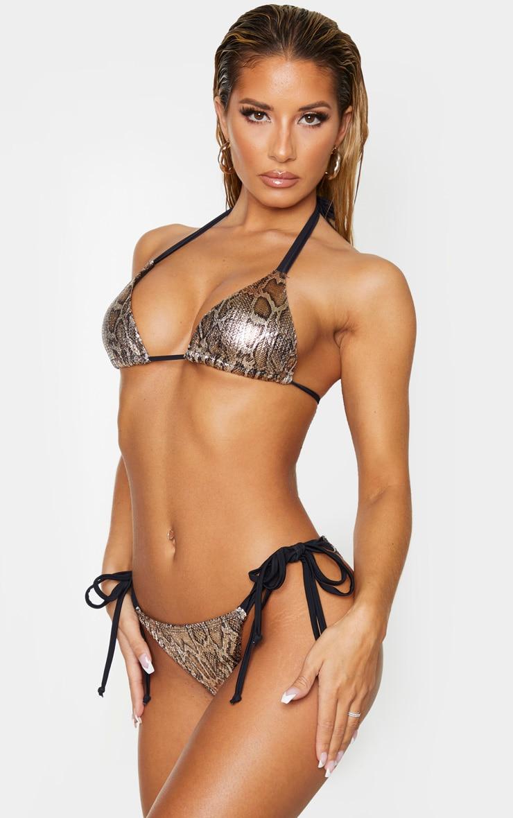 Bas de bikini texturé métallisé effet serpent 2