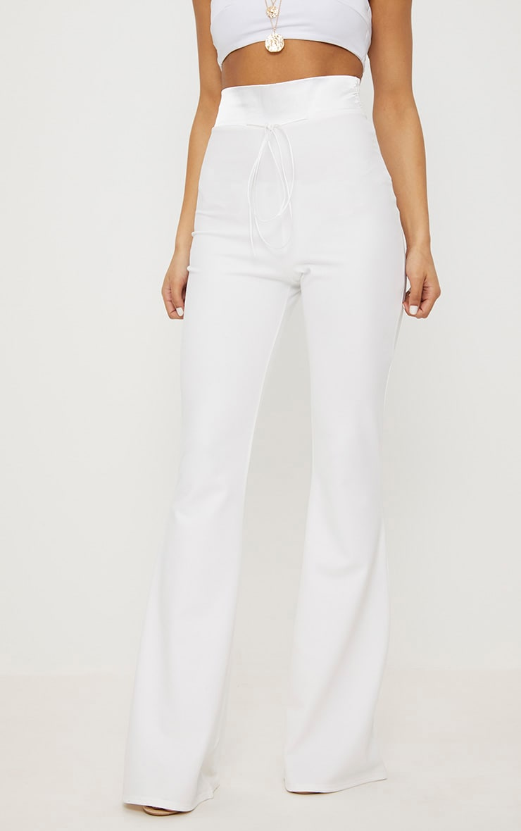 Cream Satin Waistband Detail Flare Trouser 2