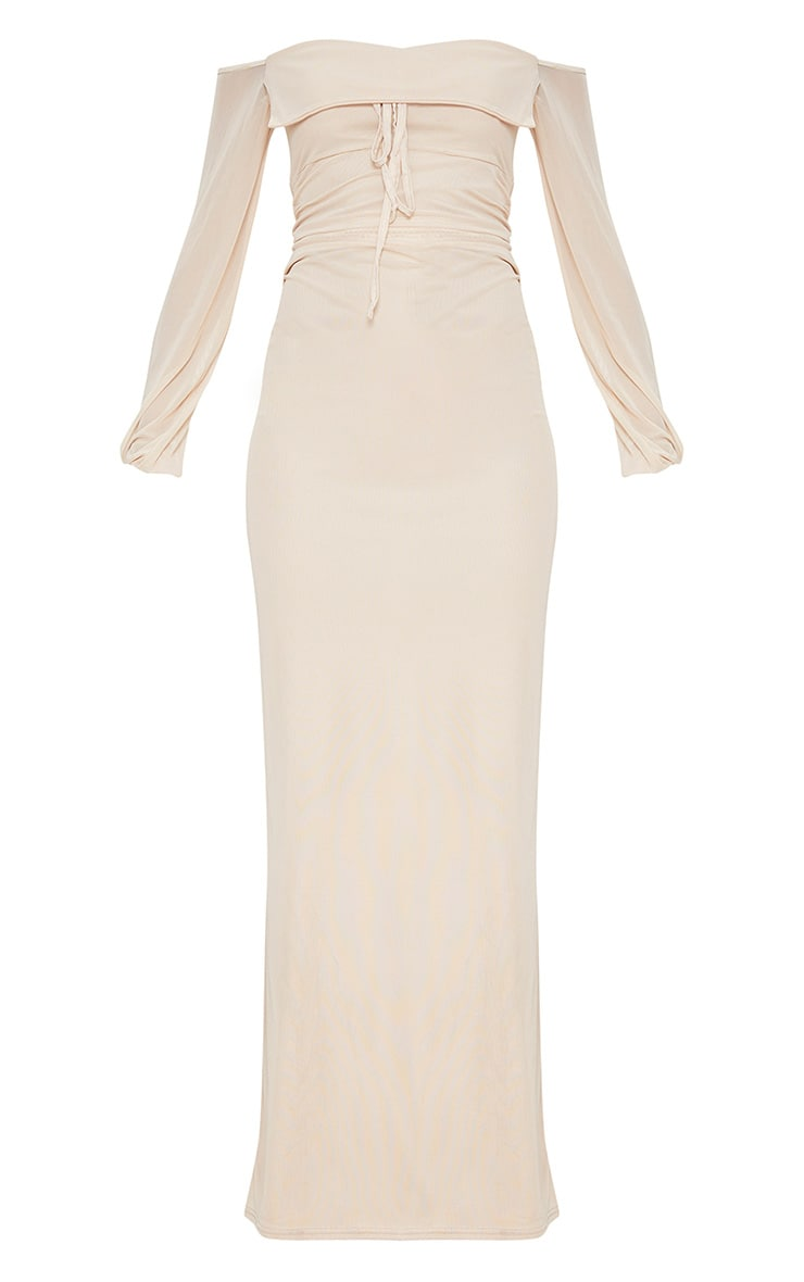 Nude Mesh Ruched Square Neck Maxi Dress 3