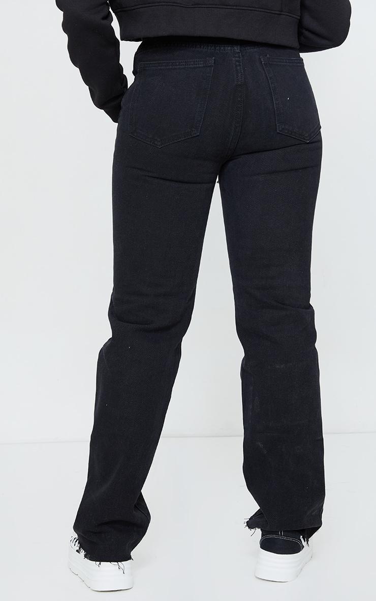 PRETTYLITTLETHING Petite Washed Black Long Leg Straight Jean 3