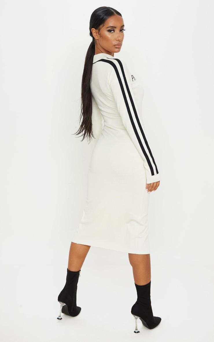 PRETTYLITTLETHING Cream Stripe Detail Knitted Midi Dress 2