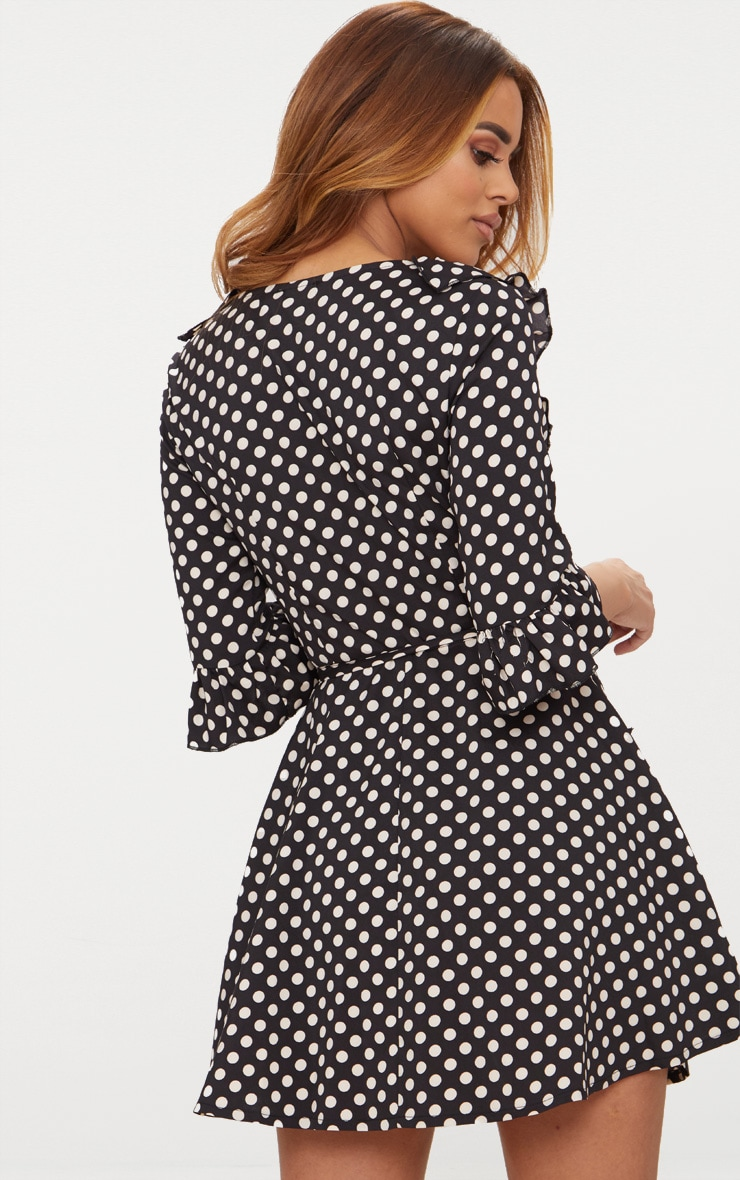 Petite Black Polka Dot Frill Detail Wrap Dress 2