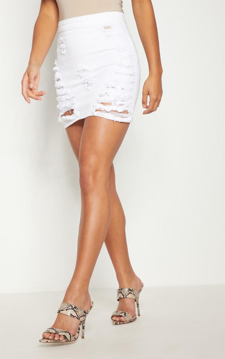 Petite White Distressed Denim Mini Skirt 2