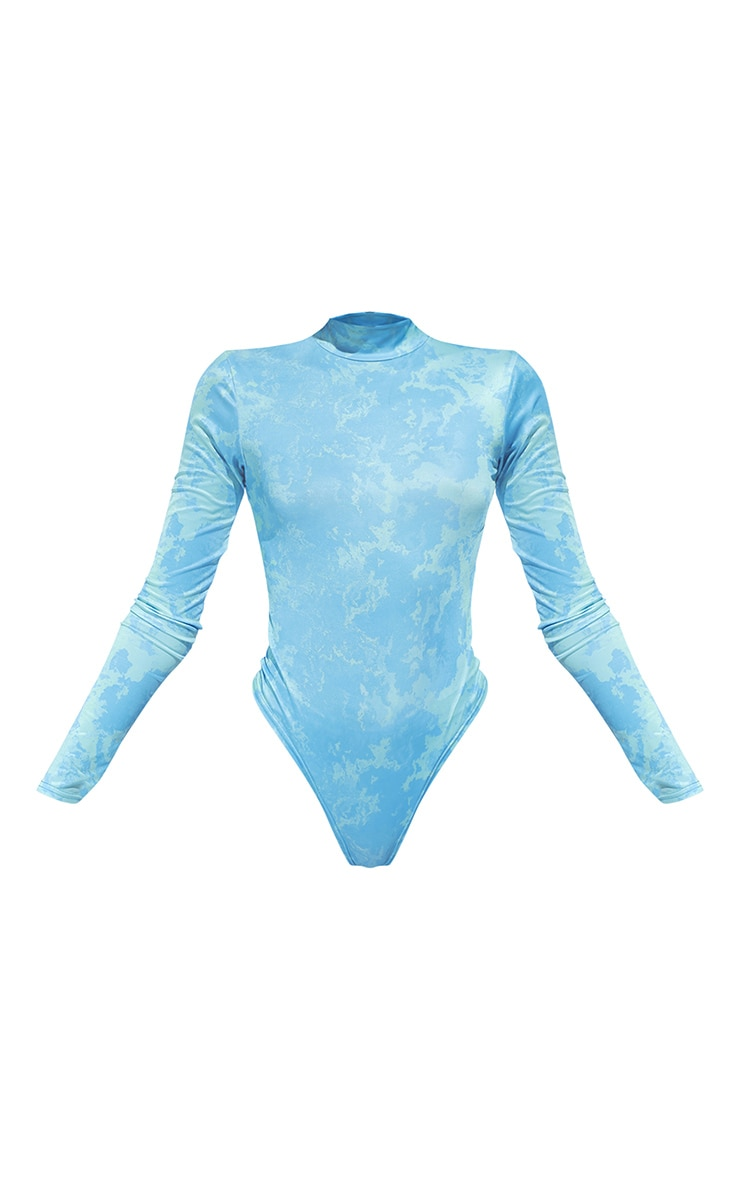 Aqua Slinky Tie Dye Cut Out Back Detail Long Sleeve Bodysuit 5