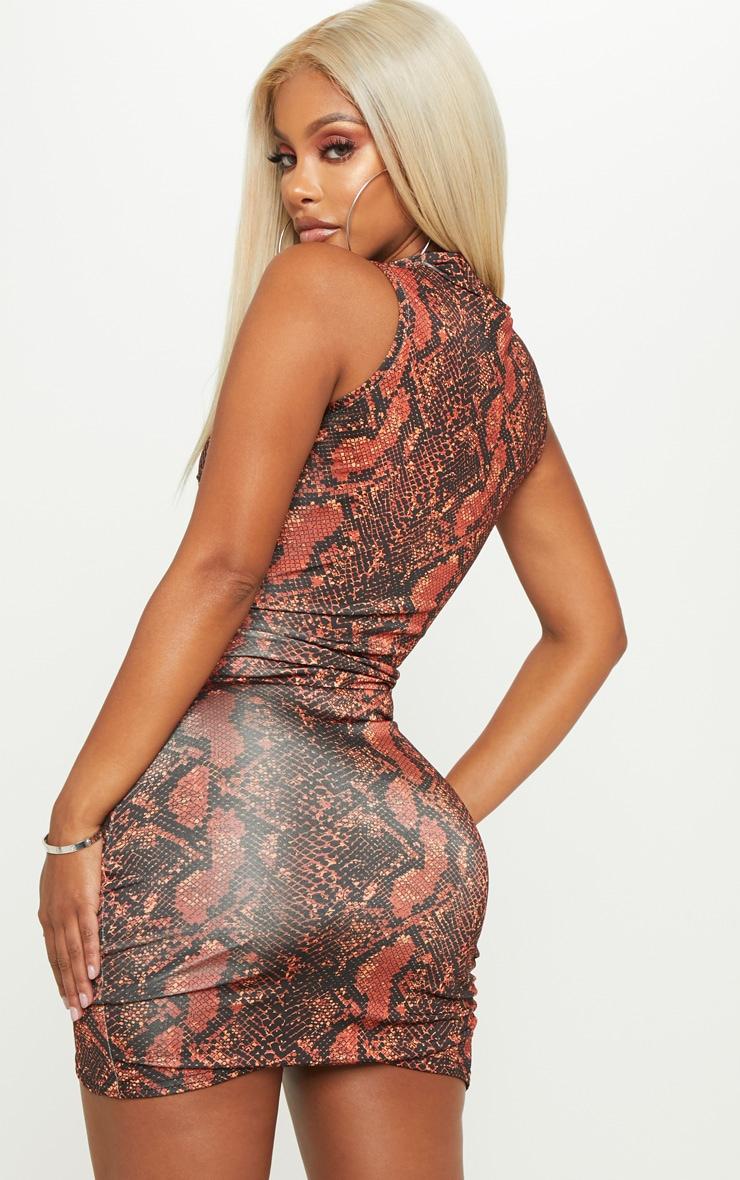 Shape Rust High Neck Snake Print Bodycon Dress 2