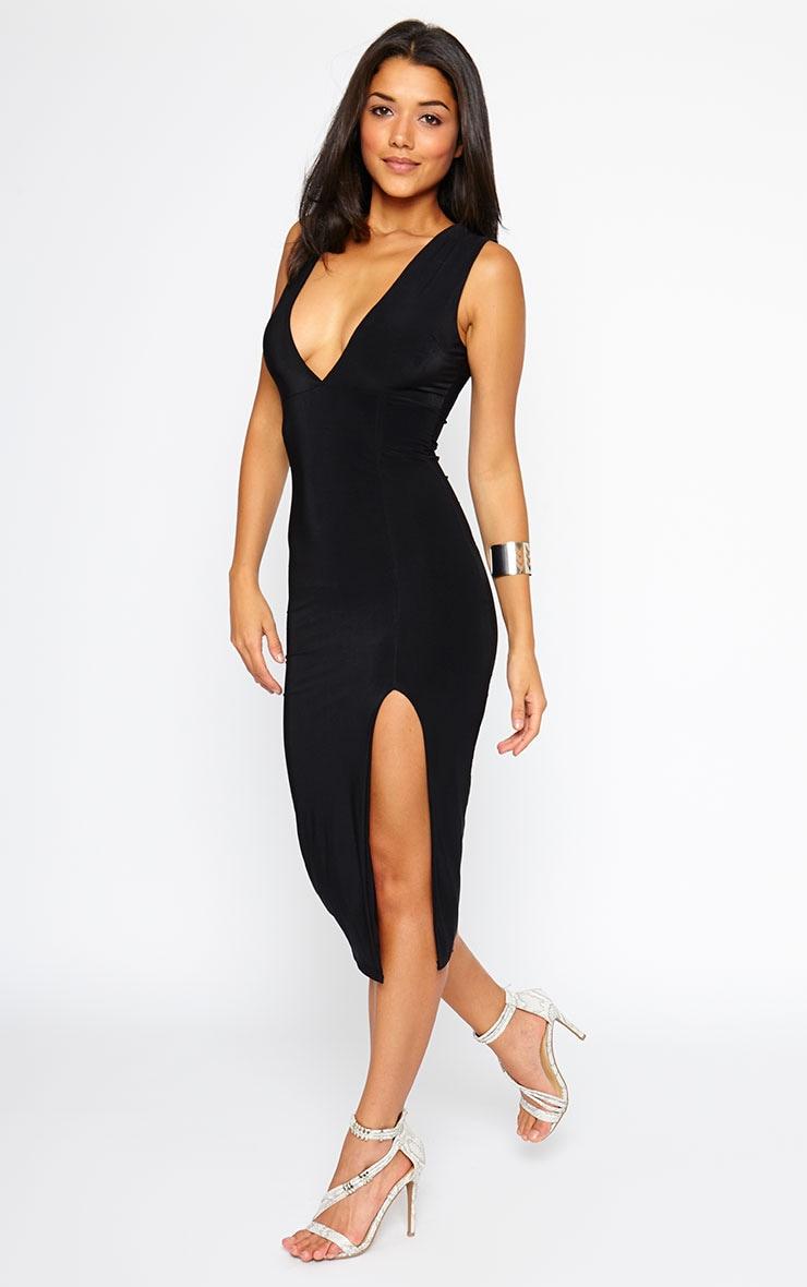 Christa Black Sleeveless Plunge Split Front Dress 1
