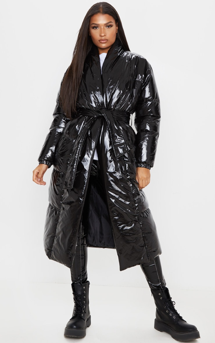 Black Shine Puffer Maxi Coat 1